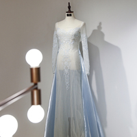 Sunvary High end Custom Strapless Luxury Celebrity Dresses Sheer Long Sleeve Flow Sexy Beading Red Carpet Dress Gown A Line