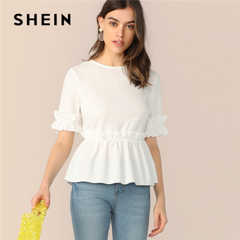 SHEIN Ruffle Trim Peplum White Blouse Women Clothes 2019 Cute Round Neck Short Sleeve Summer Blouse Womens Tops And Blouses