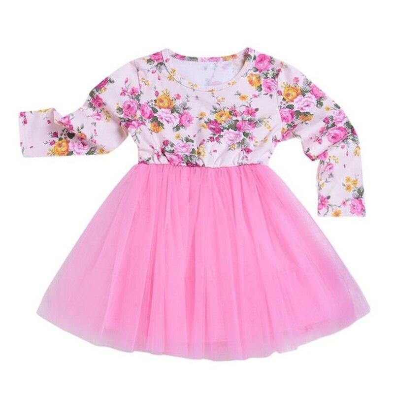 LILIGIRL Autumn Princess Dresses for Baby Elegant Lace Print Floral Dress 2018 Girls Blue Bow Party Dresses Fashion Kids Clothes