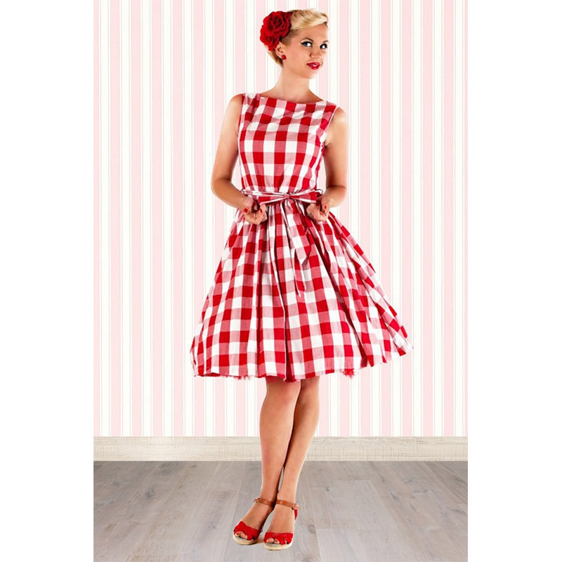 Women Rockabilly Pinup Red Striped Swing Dresses with Bow Vintage ...