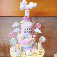 Радуга Единорог торт Топпер пирог на день рождения или свадьбу флаги облако шар торт флаг День Рождения выпечки украшения принадлежности