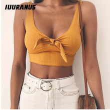 IUURANUS Ribbed Bow Tie Camisole Tank Tops Women Summer Basic Crop Top Streetwear Fashion 2018 Cool Girls Cropped Tees Camis