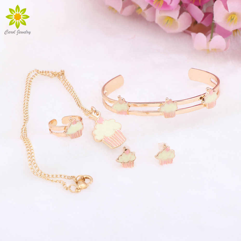 Gold Color Baby Necklace Bracelet Sets Children Jewelry Bridal Gift For Kids Cute Jewelry Sets 4Color