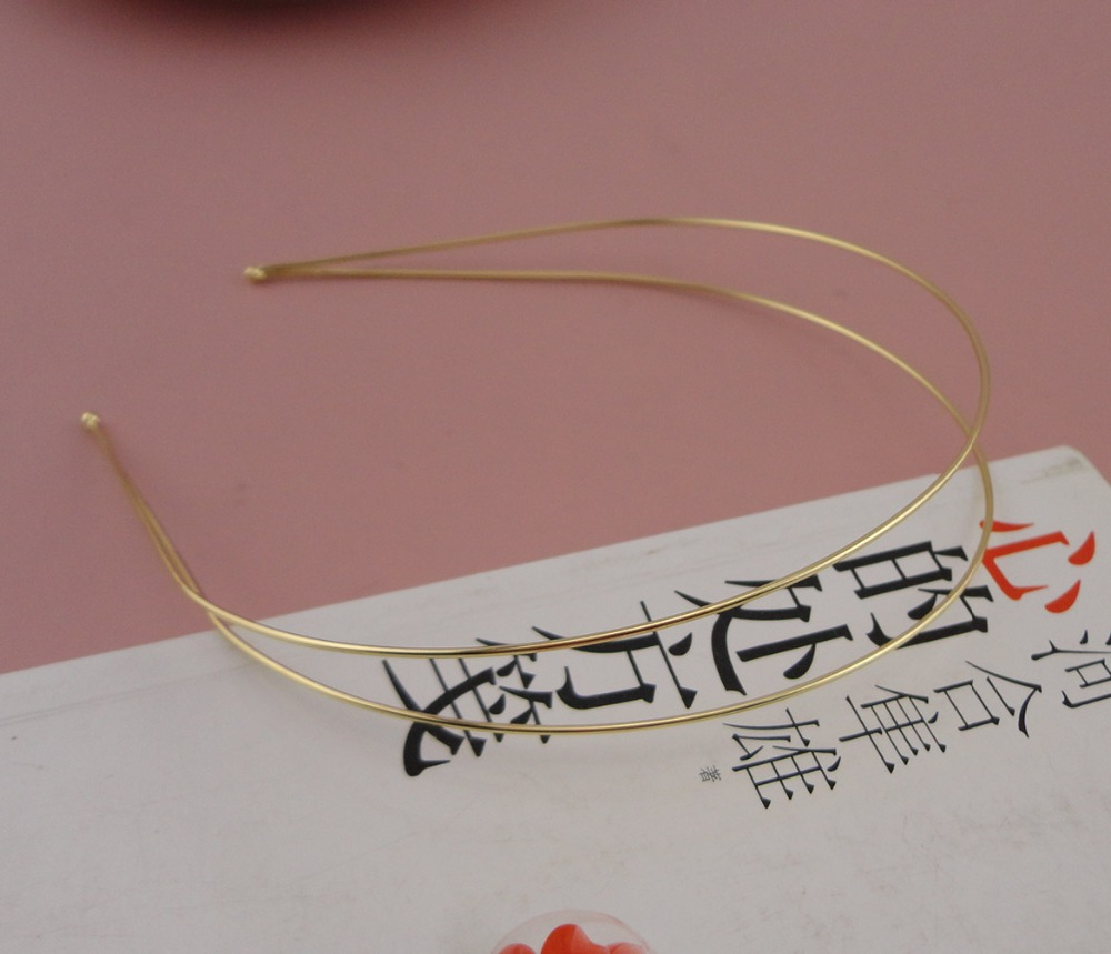 10PCS 1.2mm Golden Double Wire Plain Metal Hair Headbands With Round Tips At Nickle Free,lead Free Handmade Hair Jewelry