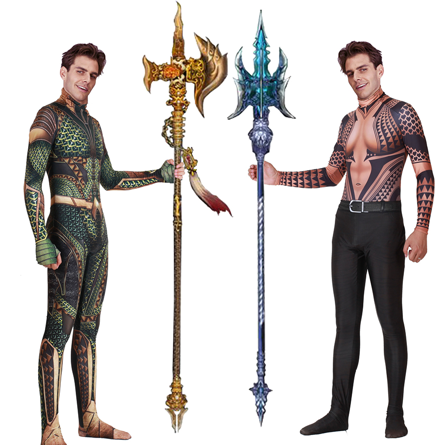 ZSQH Aquamen Costume Justice League Arthur Curry Aquamans Cosplay Costume Superhero Costumes Halloween Party Jumpsuit For Men