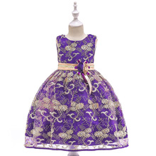 Floral Embroidery Flower Girl Dresses With Beading Kids Prom Dresses Pageant Dresses For Little Girls 2017 cupcake blue crystal flowers baby girl dresses pageant dresses for little girls g284 1