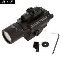 New Arrival X400 Tactical Ultra High Ouput LED Hunting Weapon Flashlight Red Laser Picatinny Rail
