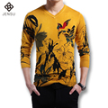 2016 Men Wool Sweaters Men's Casual Fashion Slim Fit Large Size V Neck Knitted Sweaters and Pullovers Outwear Floral Sweaters