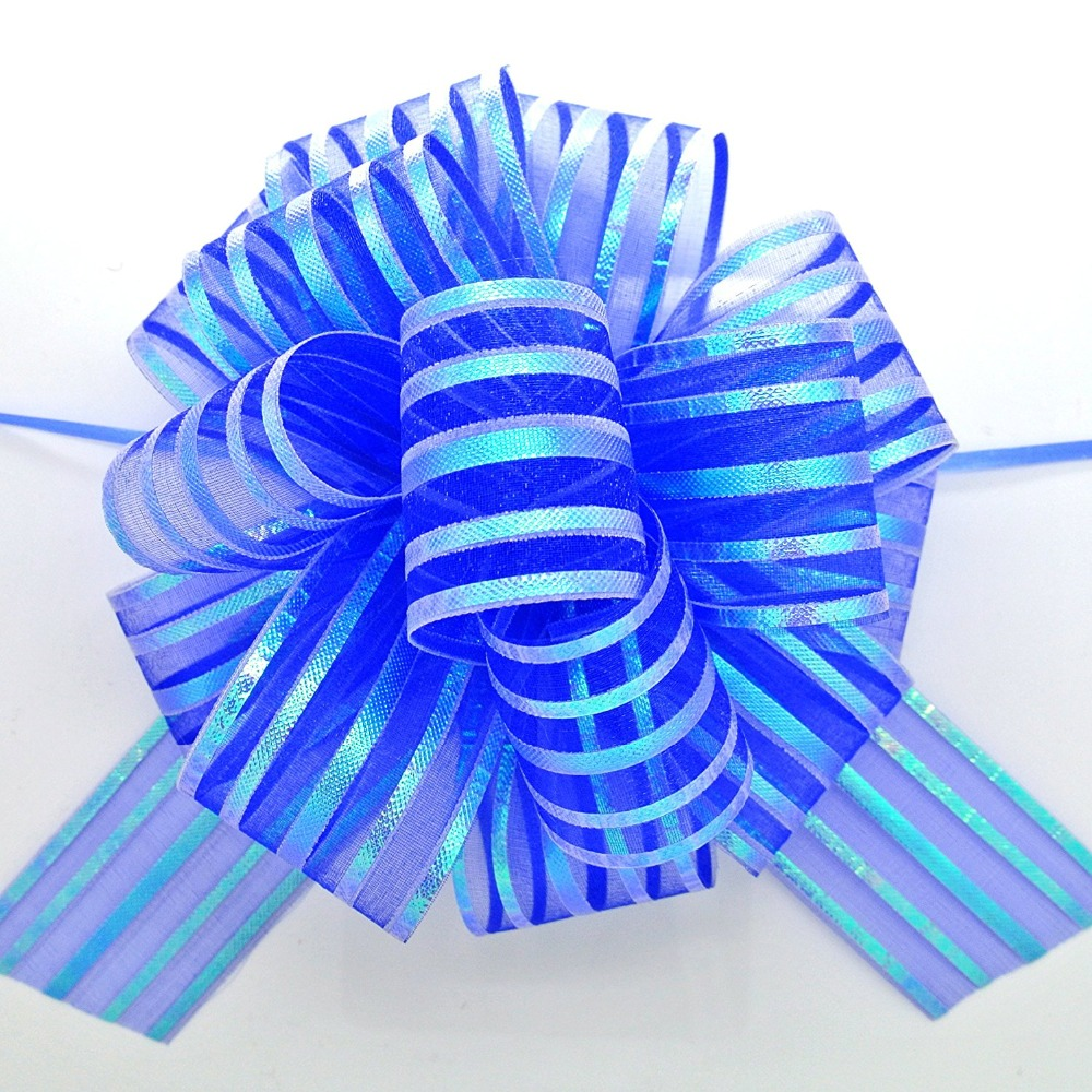 5 шт./лот большая органза, бант, лента для рукоделия, свадебное украшение, синяя подарочная упаковка 50 мм LH13
