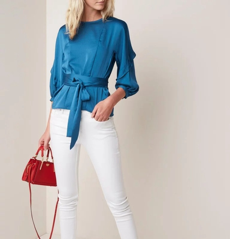 Women Shirt 2019 Spring and Summer Round Neck Pullover Button Puff Sleeve Waist Tie Mid sleeve