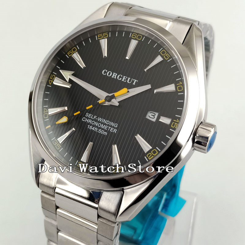 41 มม. Corgeut สีดำ Dial Sapphire คริสตัลนาฬิกา 2864-ใน นาฬิกาข้อมือกลไก จาก นาฬิกาข้อมือ บน   2