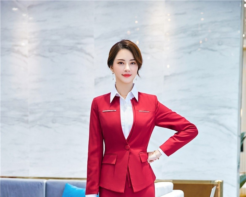 Novelty Red Long Sleeve Blazers And Jackets Coat For Women Formal Uniform Styles Business Work Wear Outwear Tops Clothes