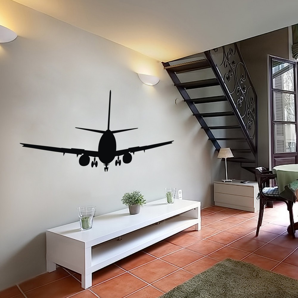 Airplane Wall Decals Aviation Decor Jumbo Jetliner Vinyl Decal Transportation Aircraft Dorm 32 H X 70 W In Stickers From Home Garden