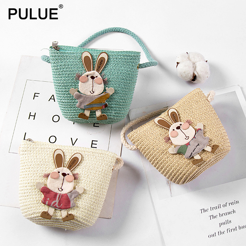 Summer Hand Made Straw Bags Children Single Inclined Shoulder Bags Exquisiteness Kids Cartoon Coin Purses Cute Princess Handbags(China)