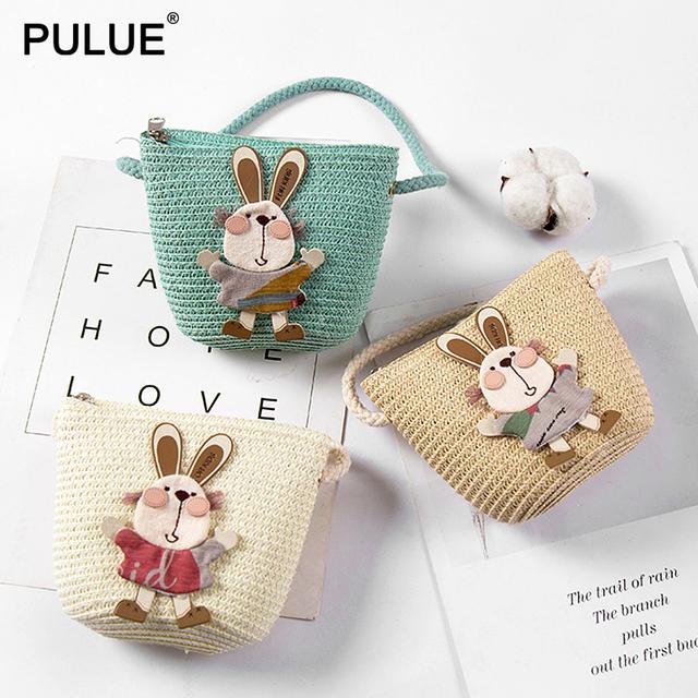 Summer Hand Made Straw Bags Children Single Inclined Shoulder Bags Exquisiteness Kids Cartoon Coin Purses Cute Princess Handbags