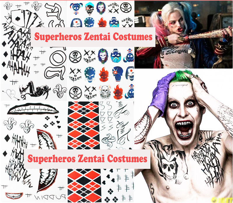 Us 9 99 Suicide Squad Harley Quinn And Joker Cosplay Costume Small Ugly Tattoo Sticker Halloween Gifts For Kids Children In Costume Props From