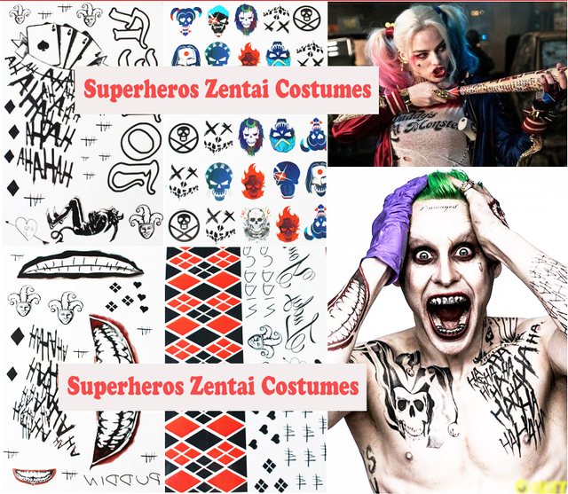 Suicide squad harley quinn and joker cosplay costume small ugly tattoo sticker halloween gifts for kids