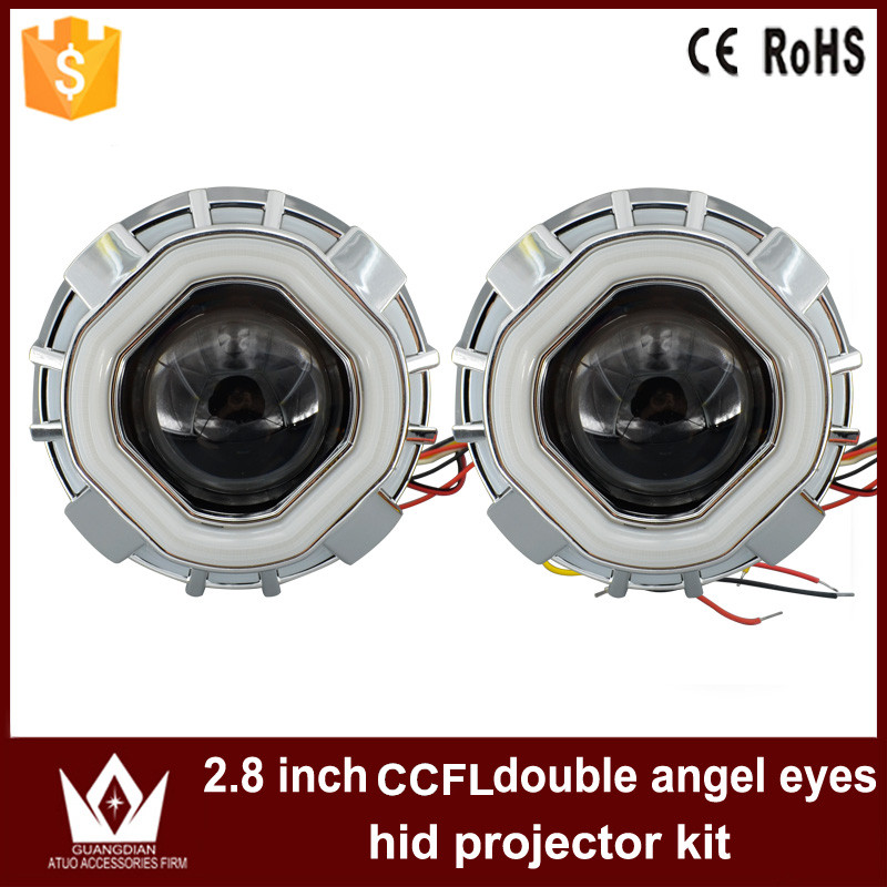 Night Lord Doulb Color CCFL Square /Prismatic Double Angel Eyes bi-xenon Projector Lens Light  For Auto CAR Headlights CCFL Chip
