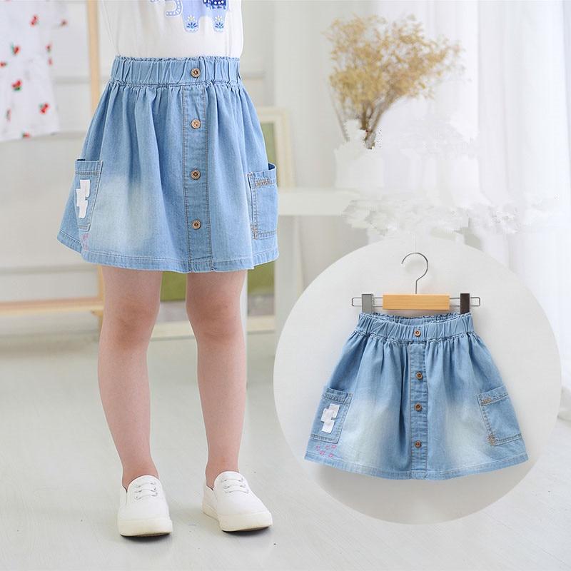 New Arrival Baby Girls Soft Denim Skirts Girls Cotton Skirt With Pokets Kids Summer All-match Denim Skirts frill trim blouse with denim skirt