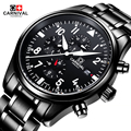 Carnival 100m waterproof Watch Men black Stainless steel Sapphire Automatic Mechanical date Watch relogio masculine