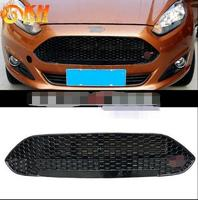 OWN DESIGN MODIFIED car styling front Racing grill for FIESTA ABS black front ST grille trim for ford FIESTA grills 2013 2017