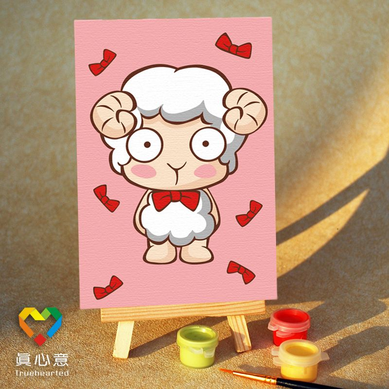 Diy digital oil painting cartoon oil painting zodiac sheep - 10 15 mini painting belt easel