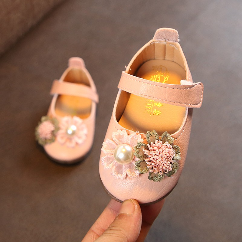 Spring Autumn Baby Flower Shoes For Girls Soft PU Leather Baby Girl Princess Shoes For Party High Quality
