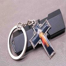 Religious Charm Cross Icon key chain Virgin Mary chain, Mercy Jesus ring pendant auto accessories,