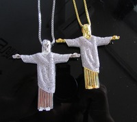 High quality box chain 600+ Simulated diamonds 70mm jesus Christ the Redeemer bling hip hop mens necklace