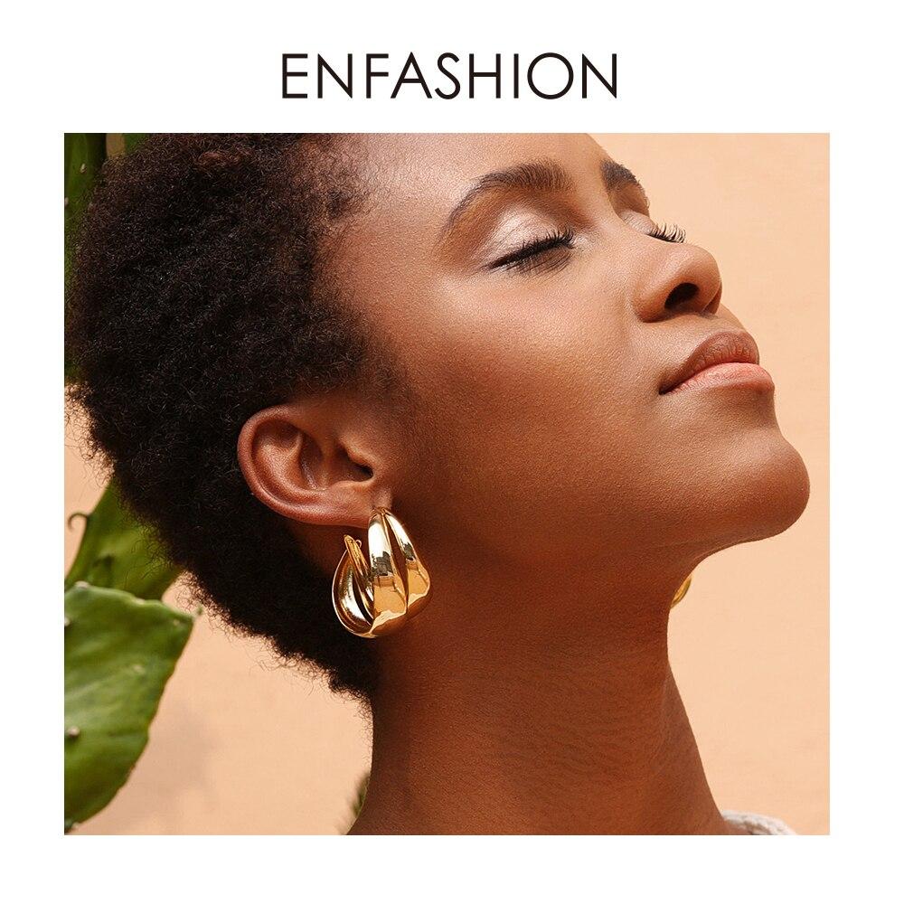 ENFASHION Punk Double C Hoop Earrings For Women Big Geometric Curve Circle Round Hoops Earings Statement Jewelry Aros EC191043Hoop Earrings   -