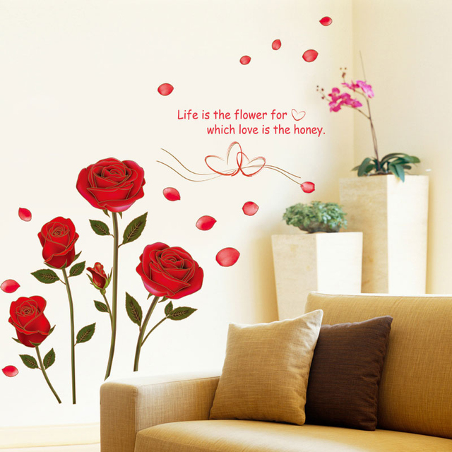 flying red rose love quotes romantic flower wall sticker for bedroom