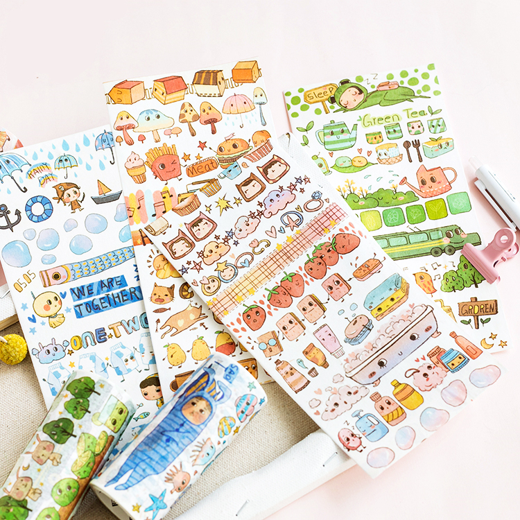 1 pcs Washi Tapes DIY paper Masking tape Small Animals Traveling Decorative Adhesive Tapes Scrapbooking Stickers Size 10cm white black marble washi tape scrapbooking decorative adhesive tapes paper japanese stationery stickers masking tape 15mm 7m