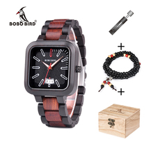 BOBO BIRD Wooden Watch Men Stylish Quartz Watches Relogio masculino Timepieces Chronograph Date Display With Box Bead Bracelet bobo bird luxury women bamboo watches timepieces for men and women quartz wooden watch relogio feminino c d21