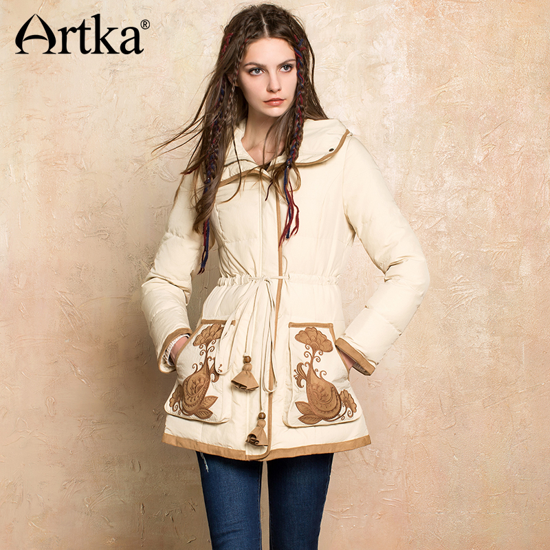ARTKA 2018 Winter New Women's 90% White Duck Down Thick Coat Drawstring Patch Embroidery Pockets Vintage Down Jacket ZK10073Q