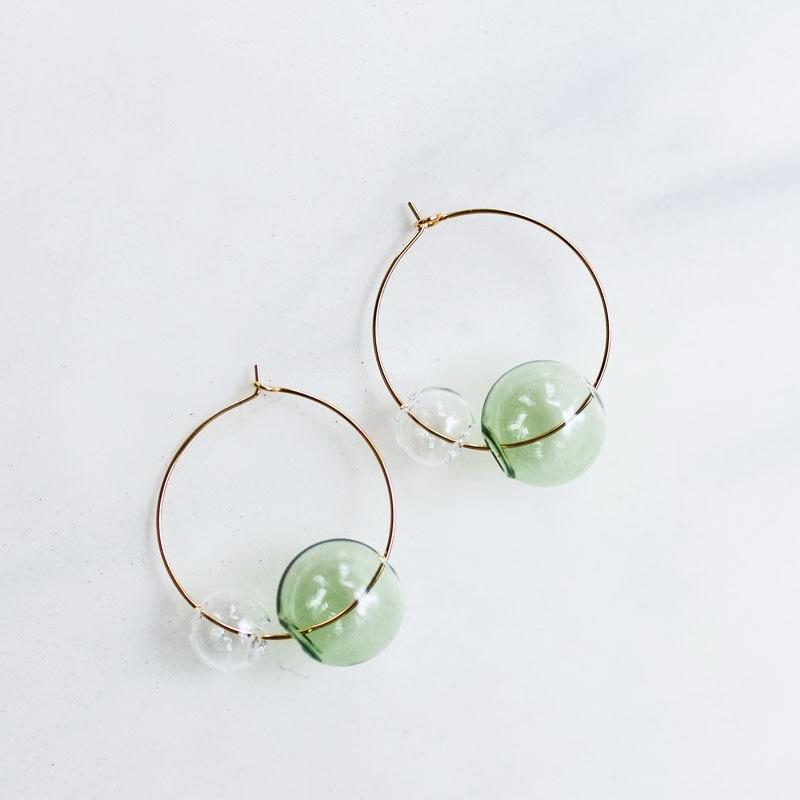 Original Hand Blown Glass Hoop Earrings For Women Fresh Transparent Bubbles Korean Earrings 2019