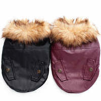 GLORIOUS KEK Dog Coat Fur Collar PU Leather Dog Clothes Winter Warm Pet Jackets Small Medium