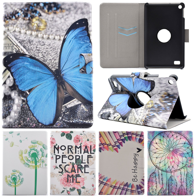 360 Rotation Cartoon Butterfly Smile Stand Flip Leather Fundas Case For Coque Amazon Kindle Fire7 Fire 7 2015 Version 7  Cover