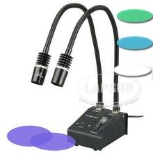 Белый, зеленый, синий, УФ светодиодный светильник, двойной светильник, осветитель, источник лампы для промышленности, стерео, микроскоп, объектив камеры