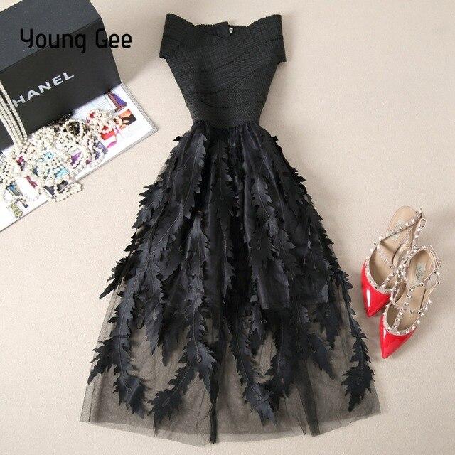 Young Gee Women Lace Bandage Patchwork Stretch Elegant Dress Vintage Floral Fit&Flare Dresses Gown Formal Party Dresses Vestido