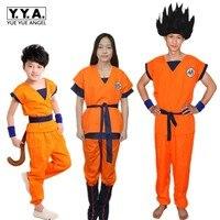 Dragon Ball GoKu Cosplay Costume Adulto/Bambino Anime cosplay abiti Top + pantaloni + polso + shoe cover + coda + bastone + parrucca + cintura