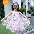 El desgaste del verano chicas Coreanas vestido sin mangas de la flor del hilado de Eugen niños Princesa Dress Girls
