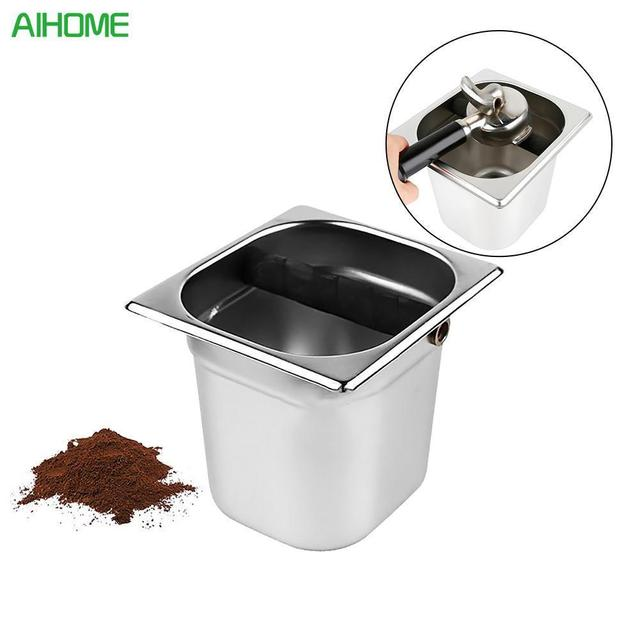 Stainless Steel Espresso Coffee Knock Box With Rubber Container Grounds Bucket For Barista