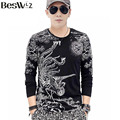Beswlz Men T-Shirts Long Sleeve O-Neck Animal Printed Spring Autumn Cotton Slim T Shirts Men Tops Tees 5809