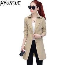 AYUNSUE модная одежда в Корейском стиле ветровка женская весна осень длинный тонкий женский плащ рабочая одежда LX1451
