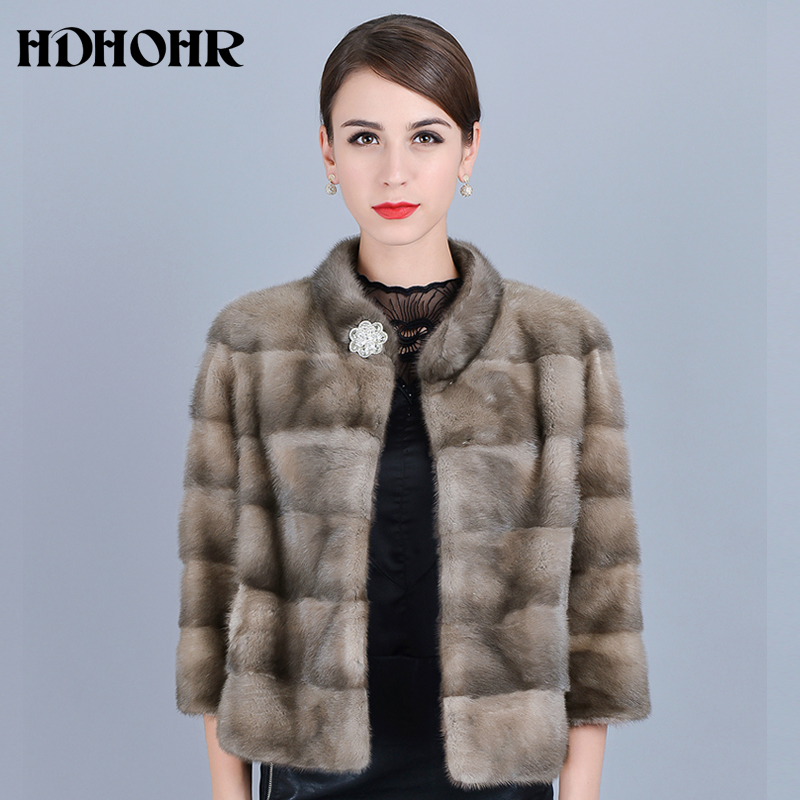 HDHOHR 2019 New Arrival Real Fur Coats  Women Natural Mink Fur Coats Commuting-Leisure Winter High Grad  Mink Fur Jackets