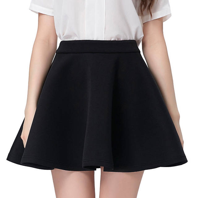 435f7850 US $19.55 49% OFF|Black Skater Skirt 2017 Summer Womens High Waist Mini  Short Skirts Above Knee Vintage 50s Casual Party Pleated Swing  Underskirt-in ...