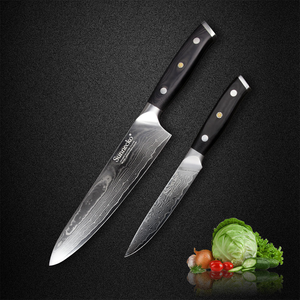 Sunnecko 2PCS Damascus Knife Set Japanese VG10 Steel 8 Chef 5 Utility Kitchen Knives Slicing Meat
