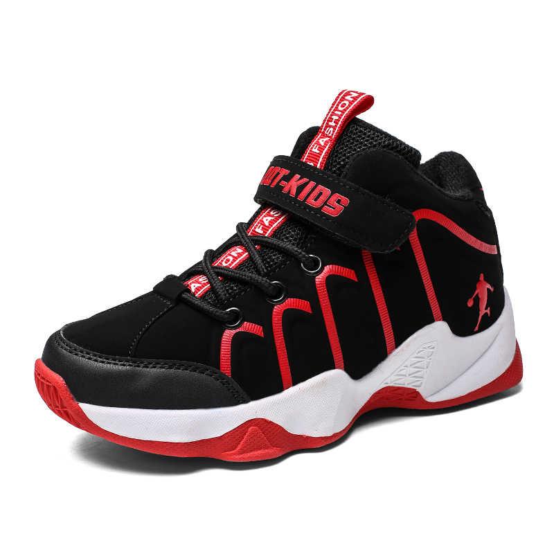 b03125d680b3 2018 Новый контрастными полосками конструкции детские баскетбольные  кроссовки для мальчиков спортивная обувь детей кроссовки анти скользкой