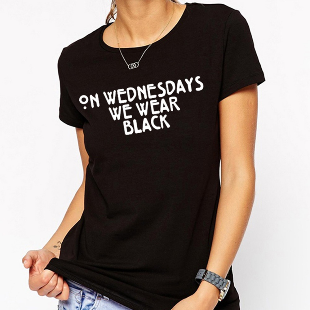 On Wednesdays We Wear Black Print T Shirts Women Cotton O Neck ...