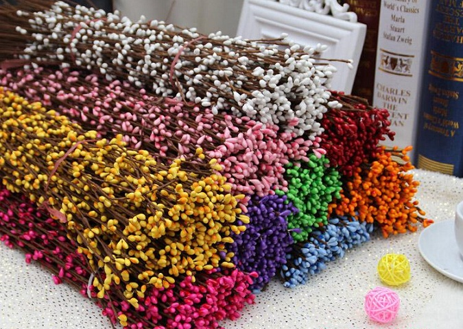 100pcslot 40cm Artificial Wreath Flower Small Berry Rattan Pip